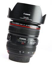 Canon EF 24-70mm F4 L IS USM AF Pro Zoom Lens + Front & Rear Caps + Hood