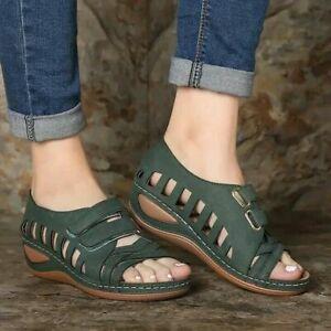 Ladies Womens Orthopedic Wedge Heel Slip On Open Toe Mules Summer Sandals Shoes