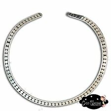 New Textured Antique Look Burnished Silver Flat Choker Collar Necklace (CT5)