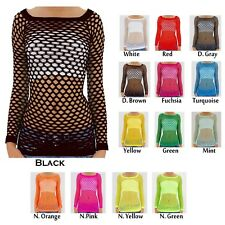 New Sexy Long Sleeve Fishnet Shirt Top Bathing Suit Cover Up One Size MP-N01