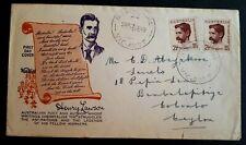 1949 Australia Stamp Fdc - Airmail To Ceylon - Henry Lawson - 17/6/49 Melbourne