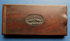 ANTIQUE MAHOGANY CIGARETTE BOX with CARVED ELEPHANTS
