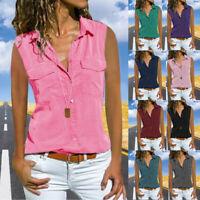 Womens Casual Sleeveless Turn Down Collar Blouse Button Summer Beach T Shirt Top