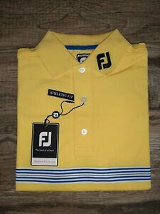 NEW FootJoy Mens Solid Lisle Golf Polo Small Multi Stripe Chestband Yellow 25526