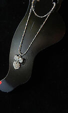 Nwt Double Silver Ball Chain W/Tail Anklet & Clear Rhinestone Bow & Heart Charm