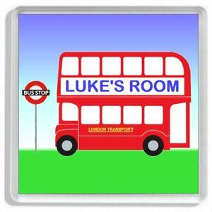 Personalised RED LONDON BUS Childrens Bedroom Door Sign / Door Plaque