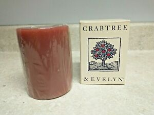 """Crabtree Evelyn Vintage Woodlands Sienna Pillar Candle NEW in Box 3 X 4"""" Sealed"""