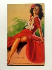 1940s Pin Up Girl Picture Mutoscope - Brunette in Red Dress - Sitty Pretty