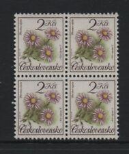 CZECHOSLOVAKIA 1991 2k. NATURE PROTECTION. FLOWERS BLOCK OF 4 *VF MNH*