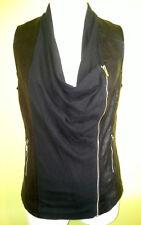 Ladies Womens Black Sleeveless Zipper Jacket Vest Faux Leather Rockmans Size 8