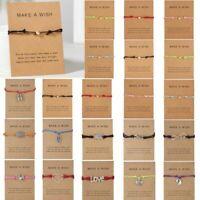 Fashion Friendship Make a Wish Heart Rope Bracelet Bangle Couple Card Jewelry