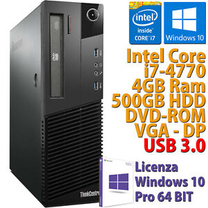 PC COMPUTER DESKTOP RICONDIZIONATO LENOVO M83 CORE i7-4770 RAM 4GB HDD 500GB