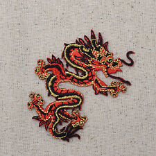 Iron On Embroidered Applique Patch - Chinese Red/Black Dragon Facing RIGHT SMALL