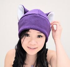 Purple beanie Kitty Cat ear hat cosplay anime manga goth punk ski snowboard warm