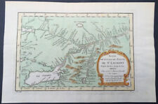 1757 Nicolas Bellin Large Antique Map St Lawrence River to Lake Ontario, Canada