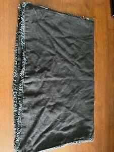 Heavyweight Linen Blend Pillow Sham Casaluna Euro Black Washed Frayed Edge Queen