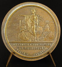 """Médaille compagnie d'assurance """"La Métropole"""" incendie accident c1900 medal"""