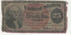 1863 Fourth 4th Issue Twenty Five Cent Red Seal Fractional Currency 25 Cents