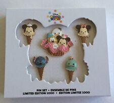 Tsum Tsum Ice Cream 5 Pins Set Disney Store LE 1000 Mickey Minnie Stitch Scrump