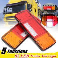 2x LED Tail Lights 12V Brake Reverse 92LEDs Trailer Truck Boat Indicator Lamp