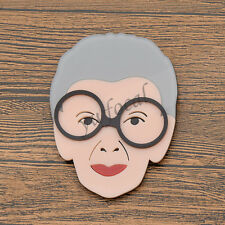 Women Acrylic Brooch Pin Cartoon Old Granny Decoration For Clothes Charm Gift