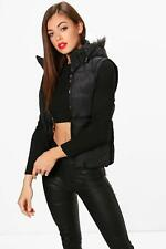 Boohoo Womens Rhea Faux Fur Hood Padded Gilet