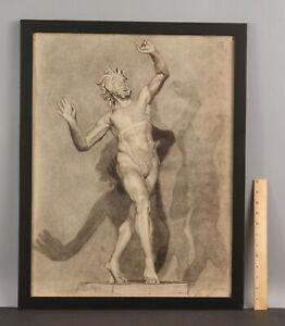 1928 ELANOR COLBURN Charcoal Drawing, Roman Bronze Dancing Faun Bacchus Nude Man