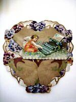 Large Vintage Stand-Up Heart Shaped Valentine w/ Cupid & Flower Typewriter  *