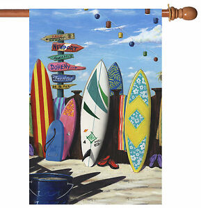 Toland Surf Central 28 x 40 Colorful Board Summer Surfing House Flag