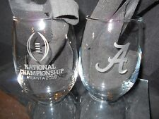 2018 NCAA COLLEGE FOOTBALL PLAYOFF ALABAMA CRIMSON TIDE ETCHED WINEGLASSES