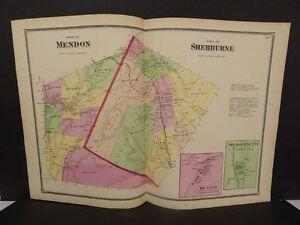 Vermont Rutland County Map Mendon Sherburne Township  1869  Double Page  W7#65
