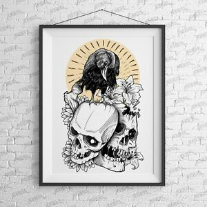 Old Crow Art Print - wall art Alternative cool bad tattoo rock music Skull Bird