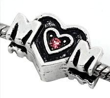 Mom Heart Pink Rhinestone Mother Gift Word Spacer Charm for European Bracelets