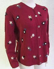 TALBOTS - Dark Red Floral Embroidered Cardigan Sweater size Petite Medium PM