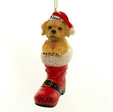 Puppy in Santa Boot - Labradoodle Personalized Christmas Dog Ornament