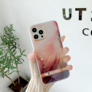 For iPhone 12 Pro Max 11 XR XS 7 8 Plus Shockproof Plated Marble Soft Case Cover