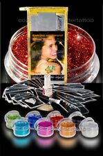 Glitzer Tattoo Set  Party 43teilig 30 Schablonen 8 Glitzerfarben 1 8ml Bodyglue