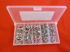 BOXED 100 SPLIT RINGS marine grade Stainless Steel sizes 15mm,12mm,10mm,8mm,7mm