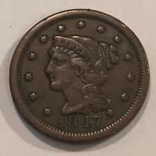 1847  BRAIDED HAIR LARGE CENT 168 YR OLD COIN  #3754