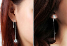 HotStriking Zircon Topaz Silver Plated Decor Drop Dangle Chain Earrings Women's