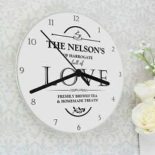 Personalizzata Shabby FULL OF LOVE orologio da parete in vetro-Nuova Casa Regalo Regalo Di Nozze