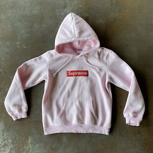 Supreme Box Logo Hoodie Pink Size Large Made In USA -fits very Small! See Photos