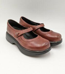 Dansko Womens Smooth Leather Mary Jane Nurse Clogs Sz 36 5.5-6 Scalloped Detail