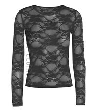 New Ladies Long Sleeve Sheer Floral Lace Womens Top T-Shirt Sizes 8-26