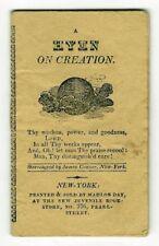 A HYMN ON CREATION Antique RARE MINIATURE CHAPBOOK Victorian Children's WOODCUTS