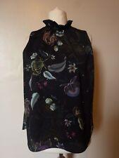 NEXT Floral High Ruffle Neck Sleeveless Top Blouse Size 10 Black