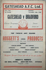 More details for gateshead v bradford park avenue fa cup 1st round 1958/59