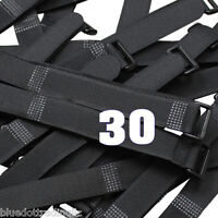 "30x 8"" Black Cable Ties ~ Wire Cord Straps Reusable Hook and & Loop ~ US Seller"