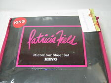 New Patricia Field  Microfiber King Sheet Set ~ Black ~ 4 pcs NIP