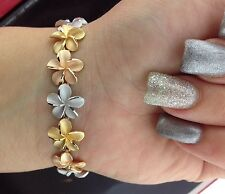 "Beautiful 18K Solid Gold Frangipani or Plumeria flowers Bracelet Sz 7.5"" Long"